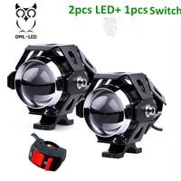 2PCS Motorcycle LED Headlight 125W 3000LM U5 Waterproof Driving Spot Head Lamp Fog Light With Switch