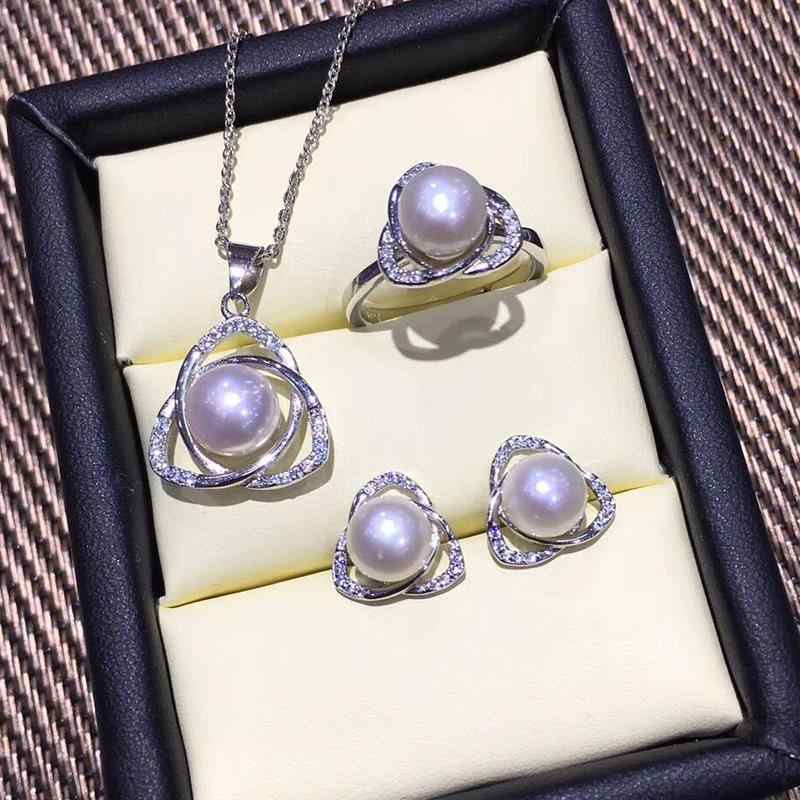 FENASY Pearl Jewelry Pearl Pendant Necklace 925 Sterling Silver Stud Earrings For Women Triangle Ring Bridal Jewelry Sets