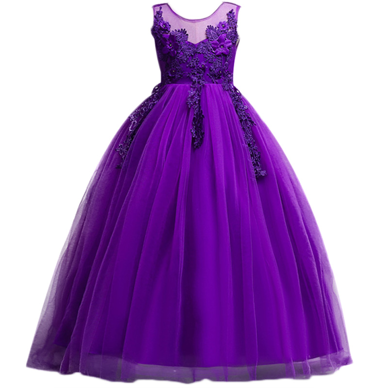 Purple Girls Wedding Dress Lace Embroidery Appliques sleeveless Party Tulle Princess Birthday Long Dress First Communion Gown