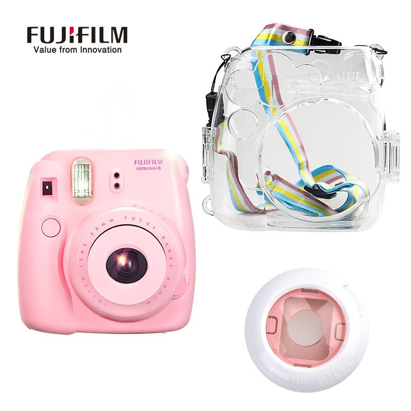 Fujifilm Instax Mini 8 film Camera + Transparent Plastic Protective Bag with Free Gift for Fiji Instant Mimi8 Film Photo Camera