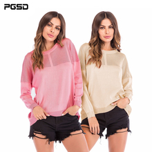 PGSD Autumn Winter Simple Fashion Women Clothes Pure color long sleeve hollow stitching knitted O-Neck sweater Pullovers female