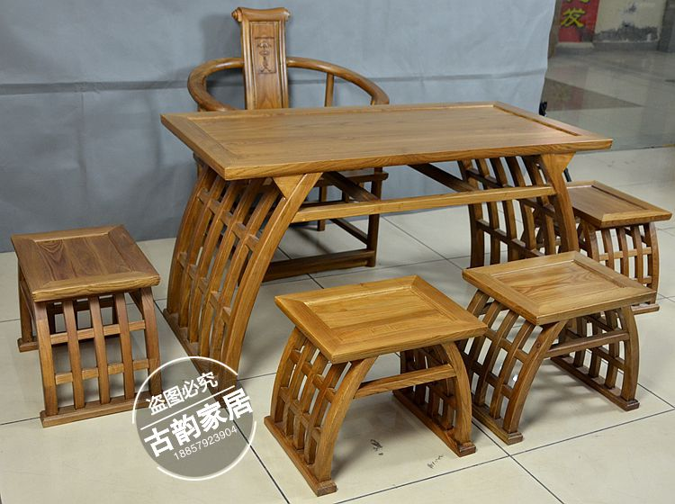 The high end solid wood furniture elm saddle square table table tea tables and chairs combined