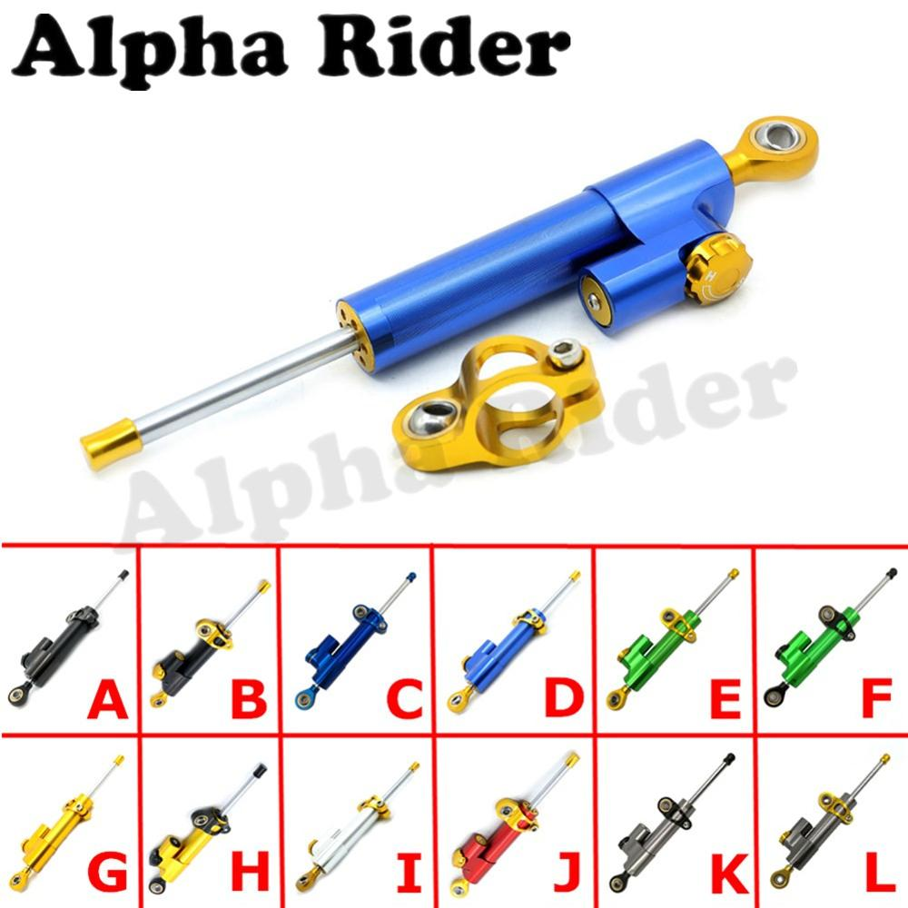 ФОТО Motorcycle Universal Adjustable Linear Reversed Safety CNC Aluminum Steering Damper Stabilizer Moto Steer Parts for Kawasaki BMW