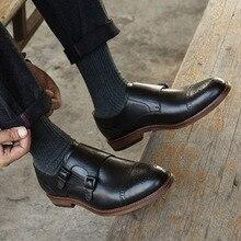 QYFCIOUFU Luxury Genuine Leather Men Dress Shoes Brand Fashion Groom Wedding Shoes Round Toe Slip-on Double Monk Strap Shoes Men