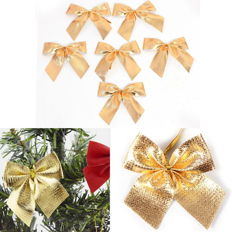 12PCS Gold Sliver Merry XMAS Party Garden Bows Ornament