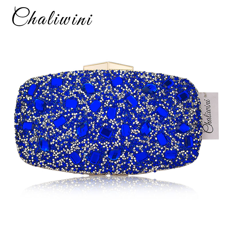 Fashion Blue Diamond Crystal Women Evening Bags Cocktail Party Wedding Bolsa Feminina Handbag Purse Bridal Metal Clutch Bag