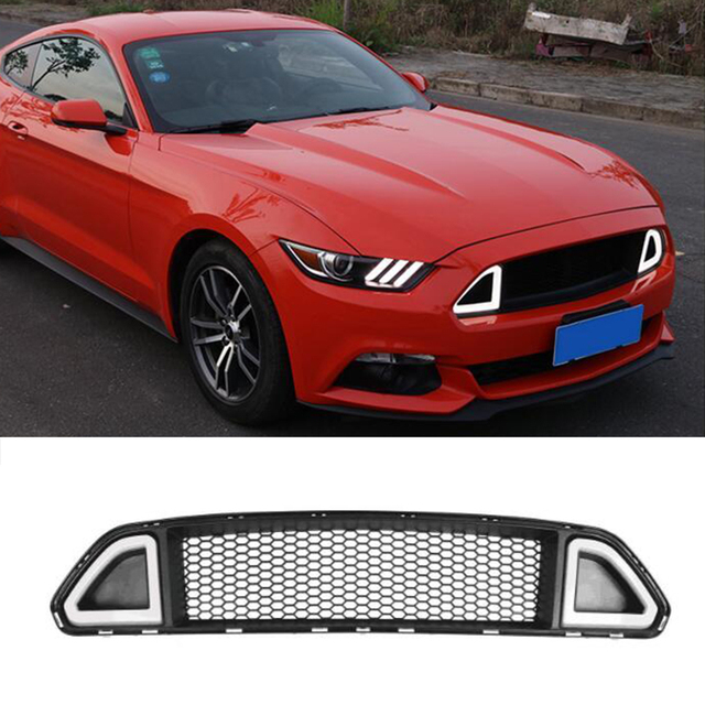 b70aa8e49b55 For Ford Mustang R Style Red Green White LED Front Bumper Middle Grill  Grille 2015 2016 2017