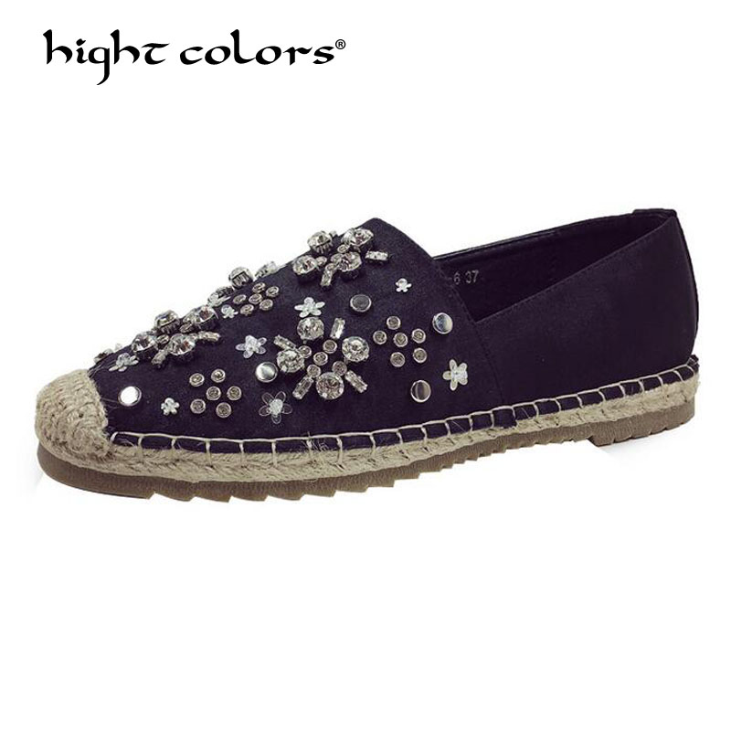 Spring Autumn 2019 New Women Rhinestone Espadrilles Shoes Flats Summer Casual Hemp Rope Slip on Silver