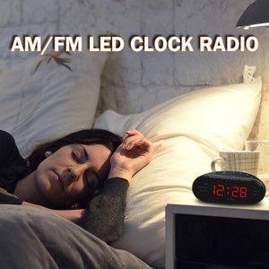 Image 5 - AM/FM LED שעון רדיו עם אזעקות כפולה שינה נודניק פונקציה לשקע מופעל גדול ספרות תצוגה עבור שינה מתוזמן כיבוי