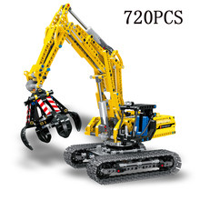 Legoed technic LepinS City Construction Excavator toy grab Model kit speelgoed Building Block Brick Legoing Toys Christmas Gift(China)