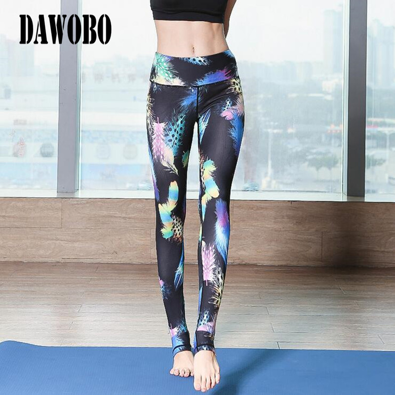 2017 Sports Pants Mid Waisted High elastic quick-dry Printed Leggings for Women Running Workout Fitness Yoga step foot trousers