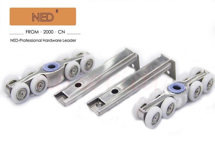 NED 304 Stainless Steel 8 Wheels Sliding Door Sliding Door Roller Set Hanging  Door Rollers Wood Door Hanging Wheel