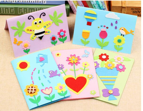 1pcs diy felt fabric greeting cards kit kids making handmade craft 1pcs diy felt fabric greeting cards kit kids making handmade craft creative gift kindergarten baby educational toy in puzzles from toys hobbies on m4hsunfo