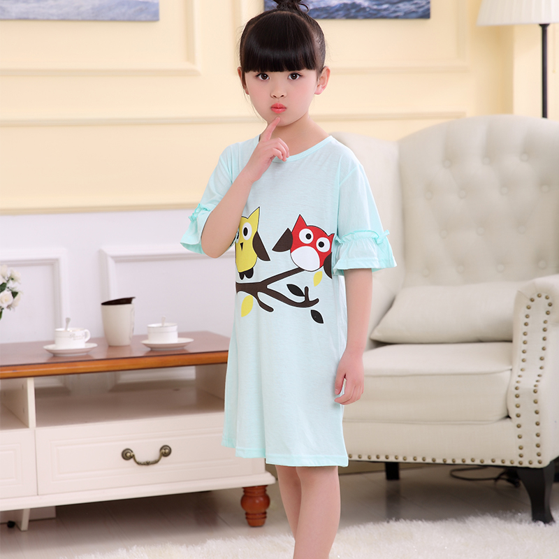 Kinder Kurzarm Rüschen Nachthemd Anzug Kinder Sommer Cartoon Nachthemd Mädchen Schöne Hause Kleidung Kinder Tag Geschenk 100% Garantie Nachthemden