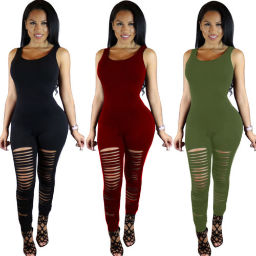 New Women Ladies Club wear V-Neck Party Broken Hole Tanks Solid Extension Jumpsuit&Romper Trousers