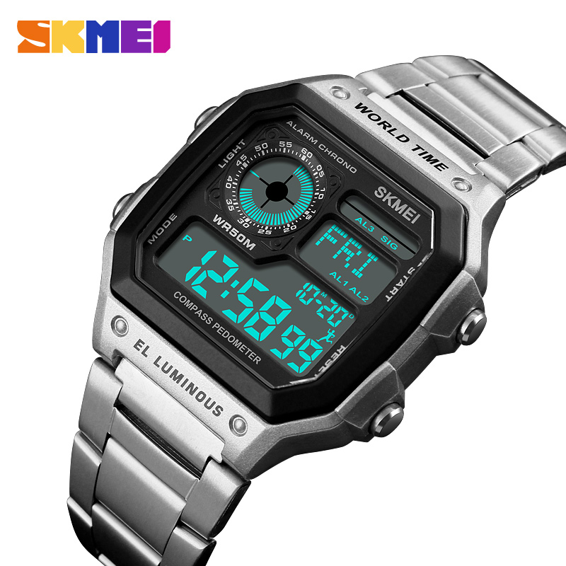 SKMEI 1382 Digital Watch Men Waterproof Pedometer Calorie Compass Multifunction Sport Clock Men's Wristwatch Silver Male Watches 1 5 lcd 3d sensor multifunction pedometer storage pedometer black silver 1 x cr2032