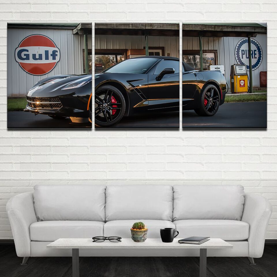 Canvas Wall Art Pictures Home Decor 3 Pieces Black Luxury Sports Car Paintings For Living Room Modern HD Prints Poster Framework
