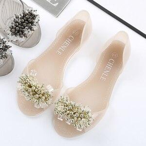 Image 2 - SWYIVY פלסטיק נעלי גומי גביש דירות נעלי 2018 אישה נעליים יומיומיות קיץ חוף סנדלי ליידי נוח פה רדוד דירות