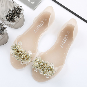 Image 2 - SWYIVY Plastic Jelly Shoes Crystal Flats Shoes 2018 Woman Casual Shoes Summer Beach Sandals Lady Comfortable Shallow Mouth Flats