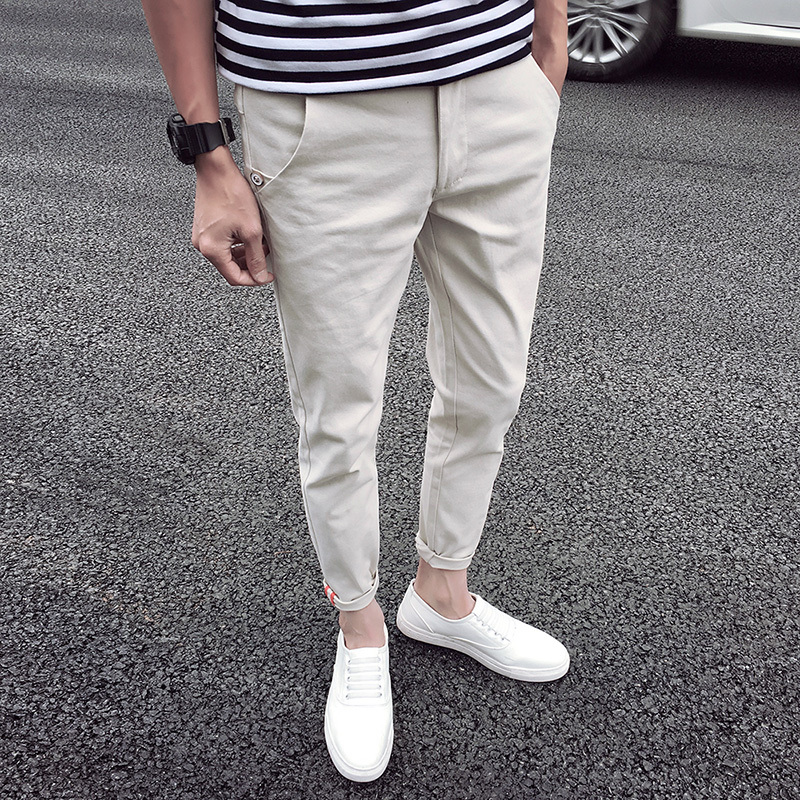 2017 Mens Casual Tactical Pants Pure Color Cotton Trousers New Pantalon Straight Classic Slim Free Shipping