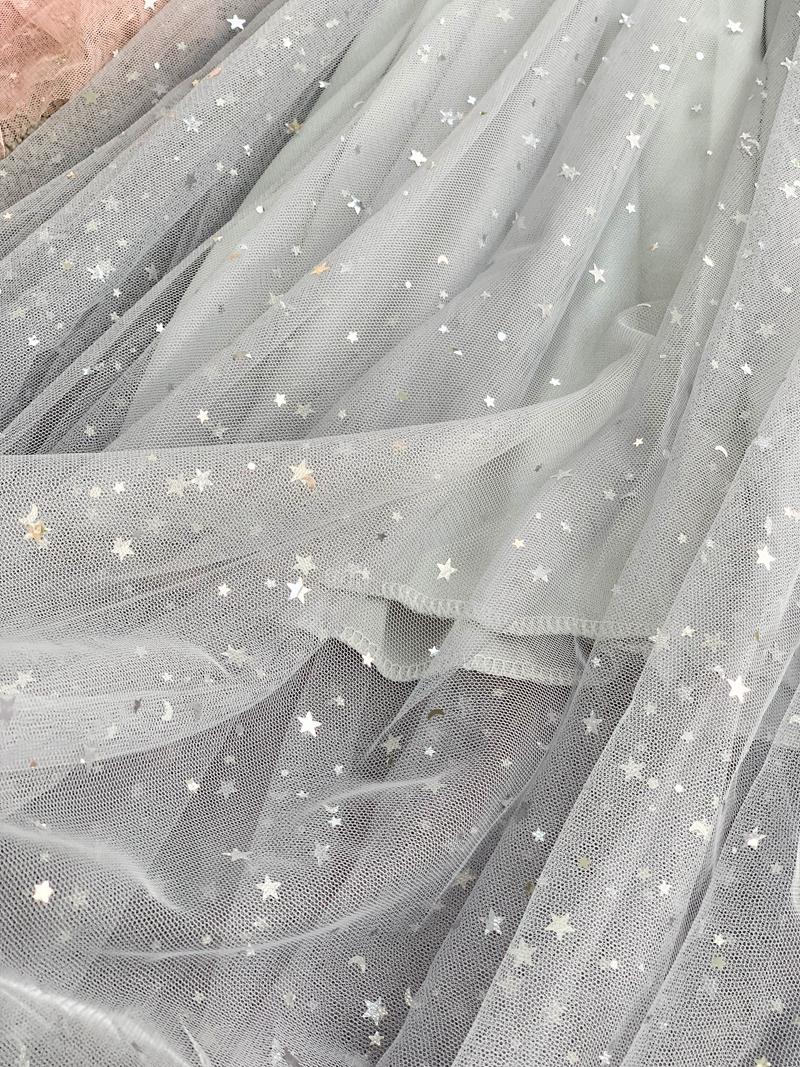 Sequins V-Neck Gauze Ruffles Mesh A-Line Dress 20