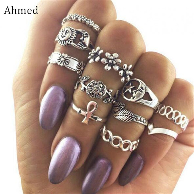 Ahmed Gold Silver 11pcs/set Vintage Rhinestone Leaf Hollow Moon Sun Alloy Ring S