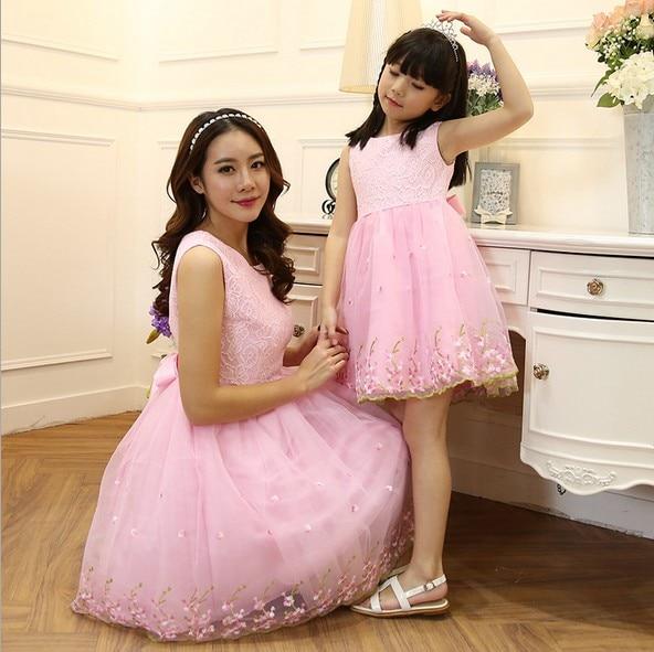 ФОТО Parent-child outfit girls sleeveless lace dress evening dress skirt is organza bitter fleabane bitter fleabane skirt