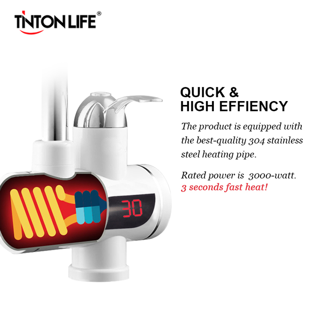 TINTONLIFE EU Plug Tankless Instant Faucet Water Heater Instant Water Heater Tap Kitchen Hot Water Crane LED Digital Electric Water Heaters
