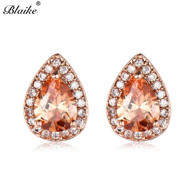 Detail Feedback Questions about Blaike Pear Cut Stone Water Drop Zircon  Stud Earrings For Women Rose Gold Filled Champagne Teardrop Earring Fashion  Jewelry ... 82a7ff77f56d
