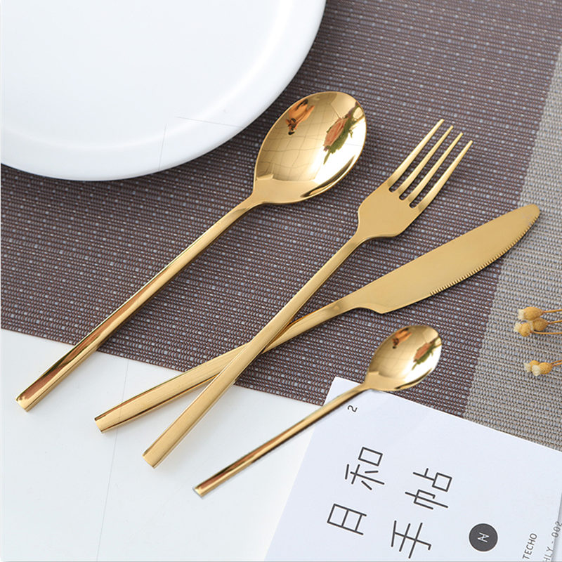 24pcs KuBac Hommi 2018 New Golden Top Quality Stainless Steel Steak Knife Fork Party Cutlery Set Gold Cutlery Kinfe Forks Set