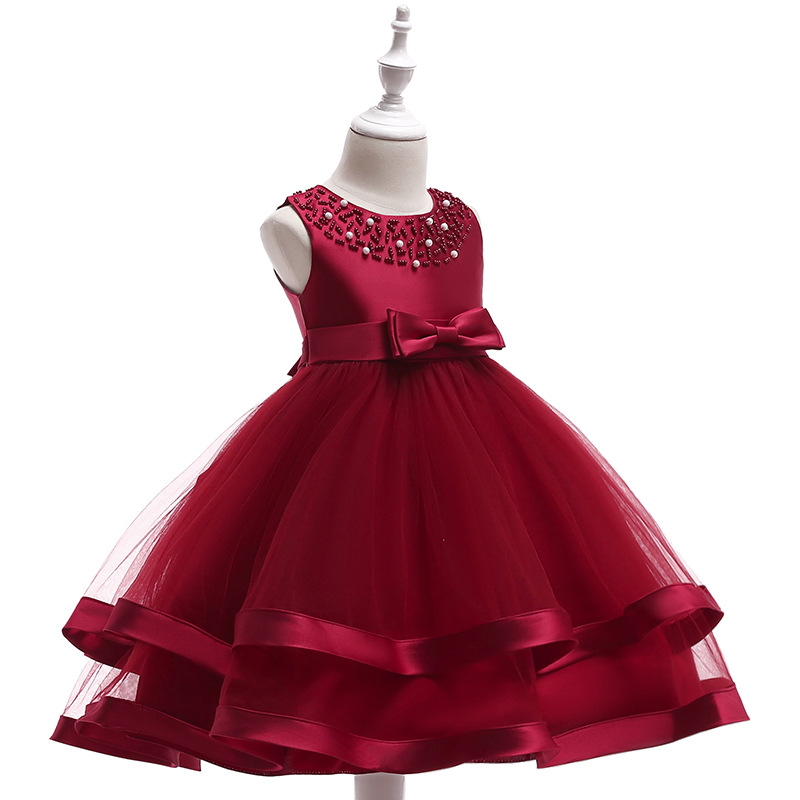 Flower     Girls     Dresses   Sheer Jewel Neck Knee Length Beading Tulle   Girl   Pageant Gowns Birthday   Dresses