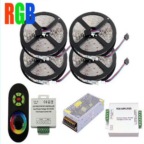RGB strip light 5050 chips 60Leds/M SMD Flexible Led Strip 20M+18A Wireless Touch Remote Controller+24A Amplifier+20 A Power 20m smd 5050 rgb led strip light 60leds m led flexible tape rope lights 18a wireless touch remote controller dc 12v power supply