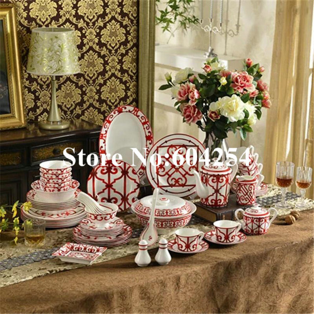 Bone china tableware set porcelain home dishes set bowls and plates set European ceramic dinnerware creative high-end gift