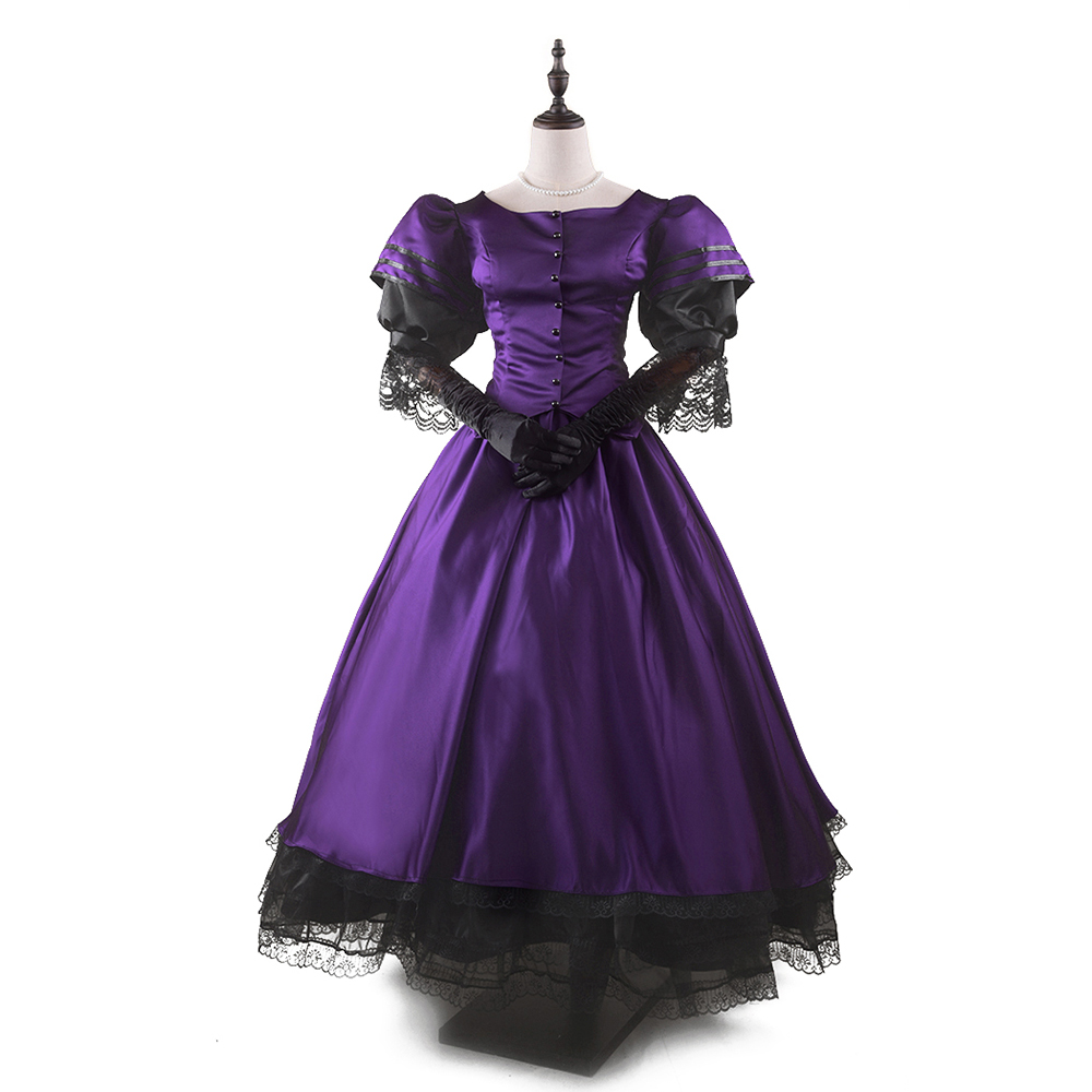 womens victorian dress classic puff sleeve floor length