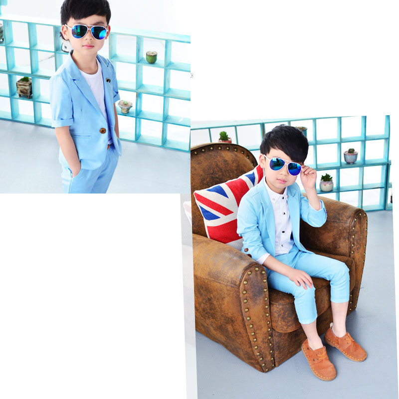 New arrival baby boy clothes sets plaid gentleman suit