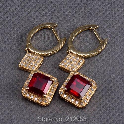 Natural Ruby Earrings, Real Gold Diamond Earring,14k Yellow Gold Diamond Drop Earrings For Women faux diamond metal fringe statement drop earrings