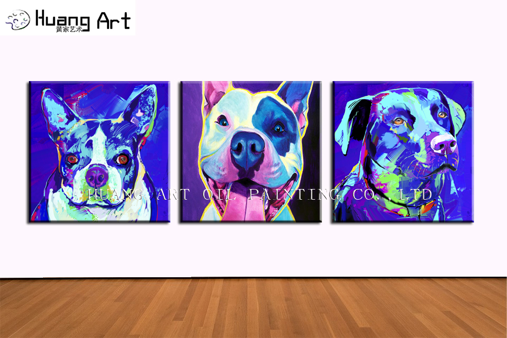 새로운 손으로 그린 현대 동물 아크릴 캔버스 거실 벽 그림 블루 불독 그림 홈 장식 예술