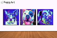 New Hand Painted Modern Animals Acrylic Painting on Canvas For Living Room Wall Picture Blue Bulldog Painting Home Decor Art
