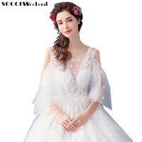 SOCCI Weekend Vintage Deep V Neck Wedding Dresses 2017 Women Marriage 3D Flowers Robe Dress Vestido