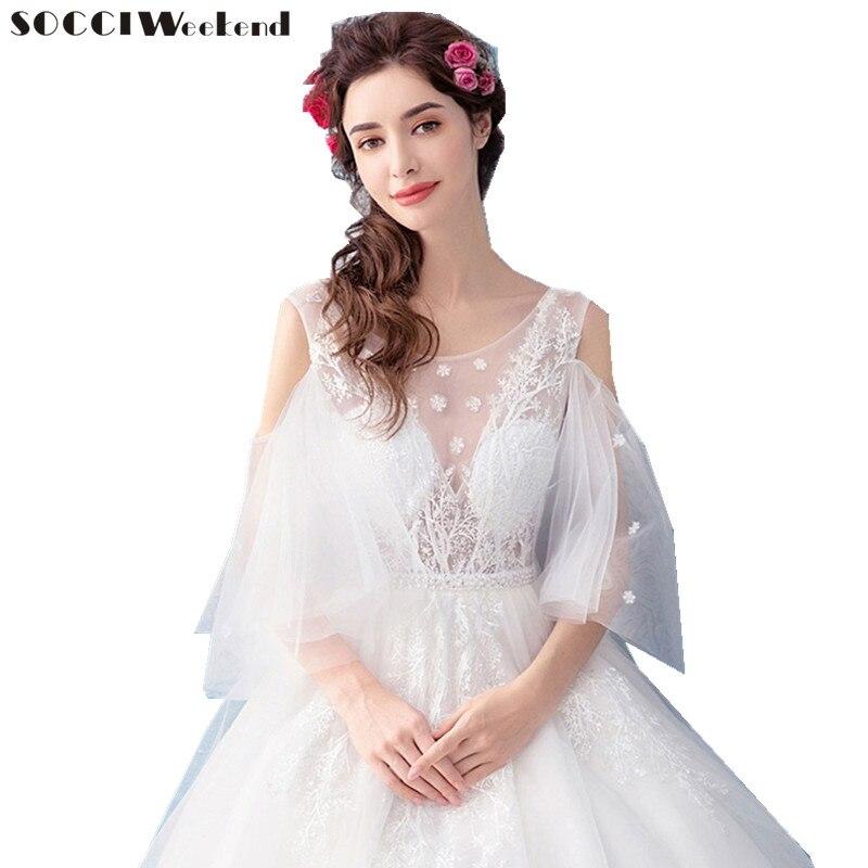 SOCCI Weekend Vintage Deep V Neck Wedding Dresses 2017