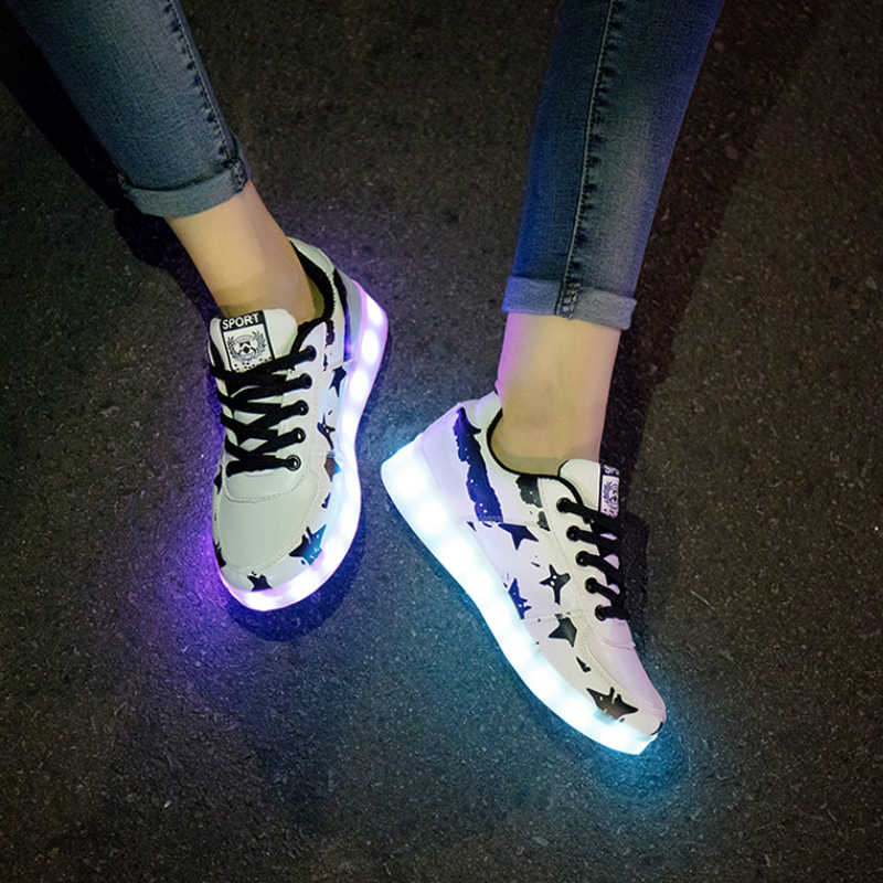 Glowing Sneakers Feminino Baskets with Light Sole Luminous Sneakers with Backlight Sneakers with Luminous Sole  Light Up Shoes