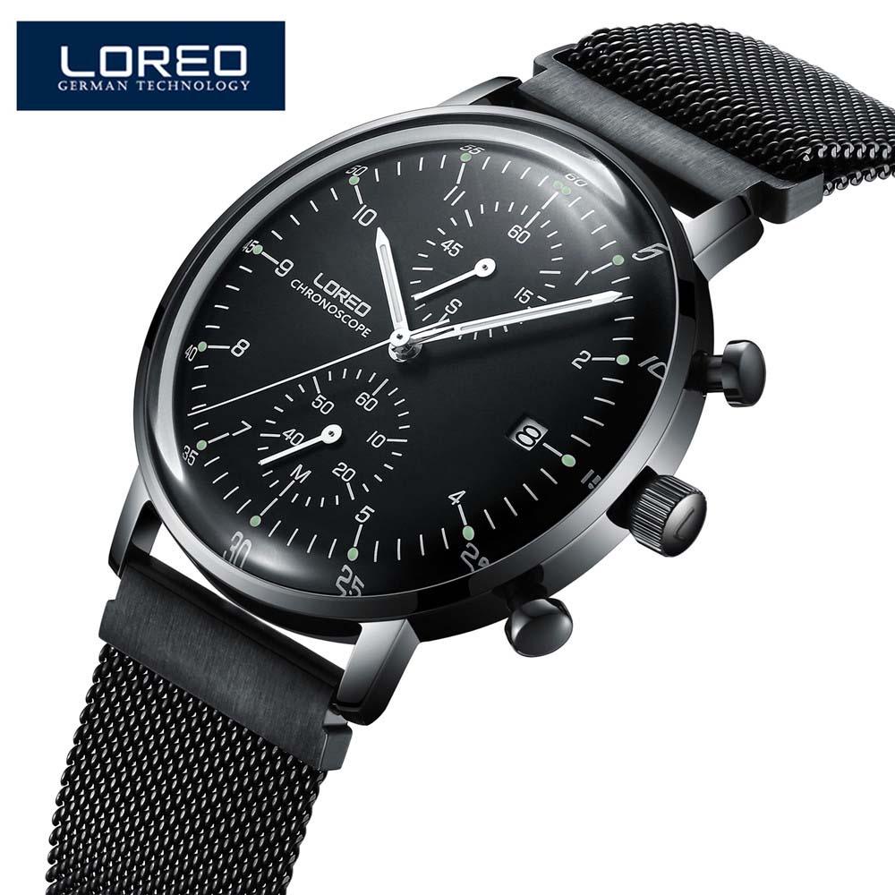 Loreo модные черные Для мужчин Часы 2017 Высокое качество ультра тонкий кварцевые часы человек уникальный черный циферблат Кварцевые часы Relogio