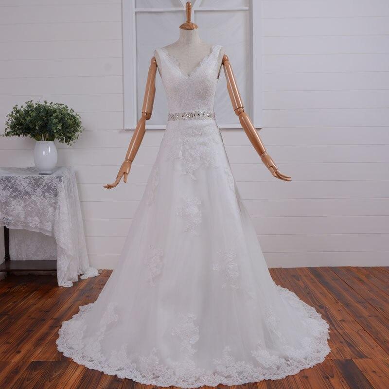 Crystal Vestido De Noiva Casamento 2018 Fashionable Romantic V-neck Lace Cheap Appliques Bridal Gown Mother Of The Bride Dresses
