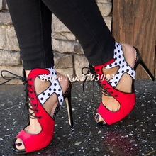 New Arrivals 2019 Red White Wavy Spots Sandals Women Cut-out Peep Toe Lace-up Hollow Thin Heels Summer Dress Shoes Plus Size 43 summer fashion blue jeans cut out sandals peep toe height increasing wedge summer denim dress shoes woman for women size 34