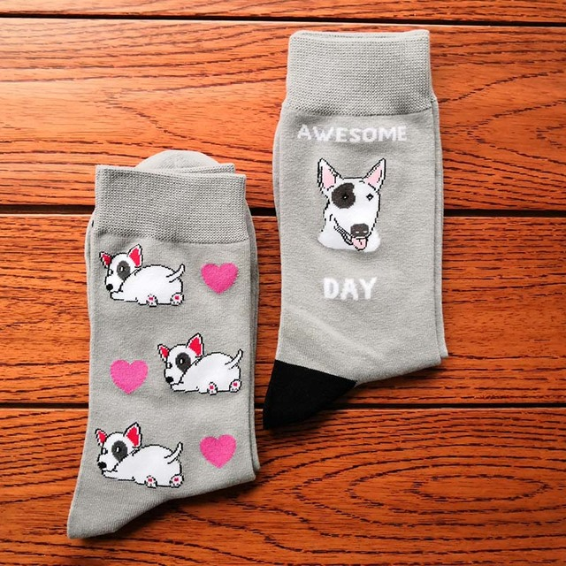 bull terrier socks with dog owner gift crazy cotton crew socks cute puppy with heart kawaii socks fun novelty bulterier 10pair