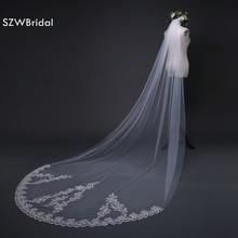 ใหม่มาถึง 3 เมตรราคาถูกผ้าคลุมหน้ายาวลูกไม้ Appliques Veu de noiva Longo COM pente เซ็กซี่ผ้าคลุมหน้างานแต่งงานหวี 2020
