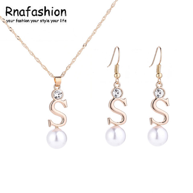 Fashion 2018 Initial S Letter Alphabet Simulated Pearl Necklaces Earring Pendants Women Jewelry Sets Silver