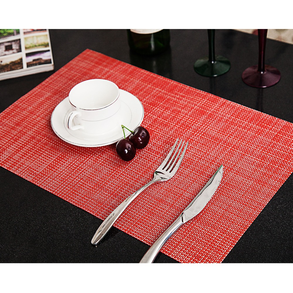2 Pcs/Lot PVC Placemats For Table Placemat For Dining Table Hot Mat Coaster Hot Pad 6 Colors