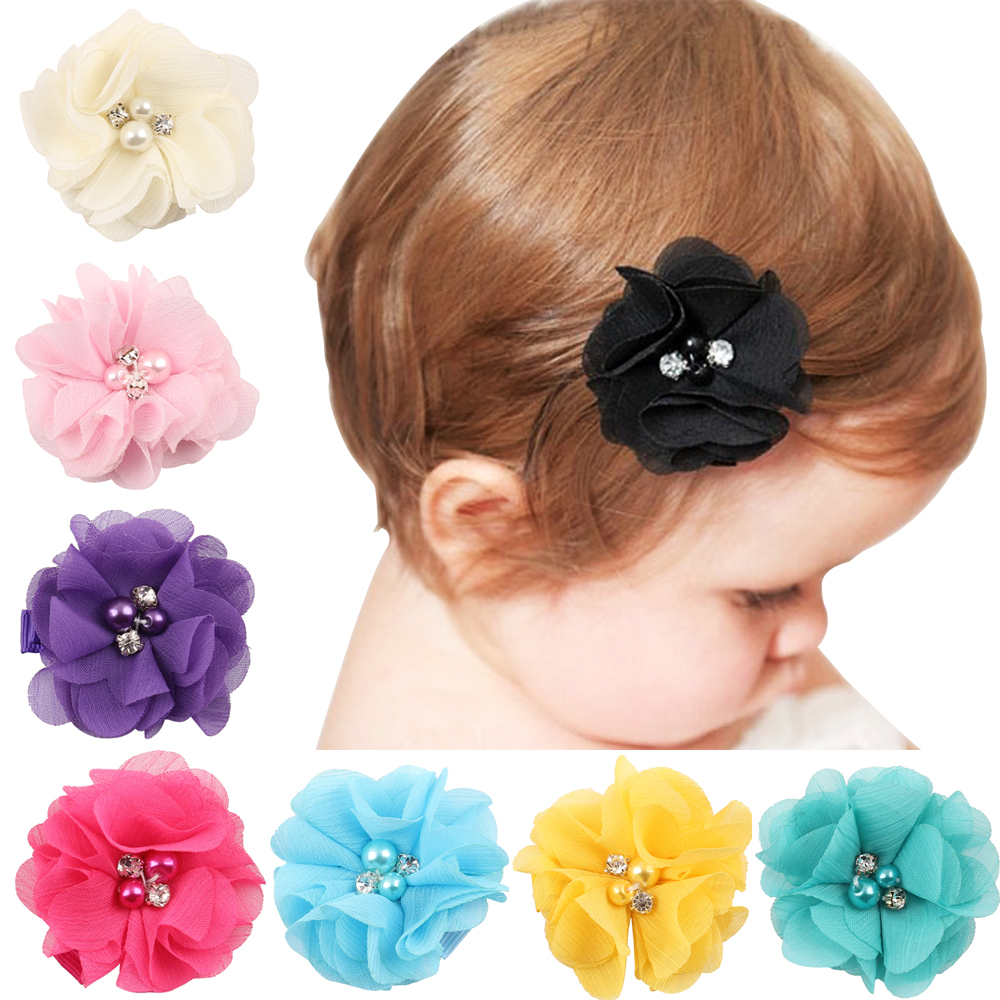 Baby hair solid Chiffon Flower clips Newborn baby Mini Hair Clips Hair Accessories Kids Hair Barrettes girls flower clips beauty white pearl bow hair accessories with clips flower hair bows girls alligator hair clip for children kids