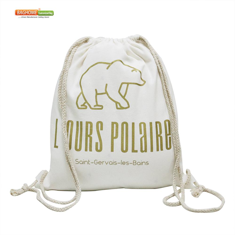 100PCS/lot Custom Black White Canvas Backpack Bag Cotton Cloth Fabric Drawstring Bag Logo